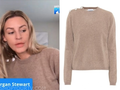 morgan stewart, E! news, beige embellished button sweater