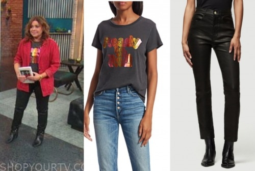 rachael ray, the rachael ray show, graphic tee, leather pants