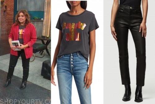 rachael ray, the rachael ray show, graphic tee, leather pants