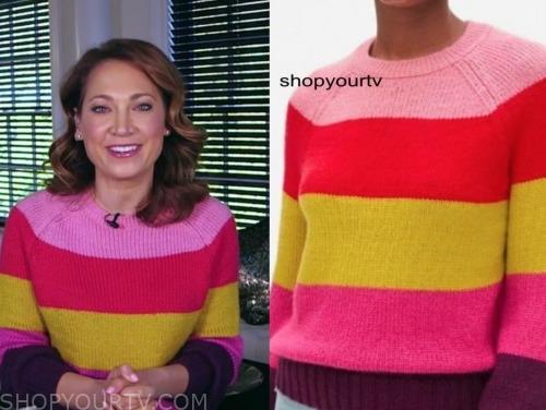ginger zee, good morning america, colorblock stripe sweater