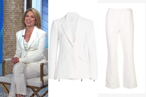 amy robach, white pant suit, good morning america