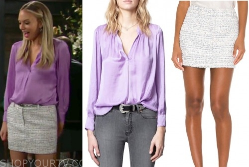 abby newman, melissa ordway, the young and the restless, purple blouse, tweed skirt