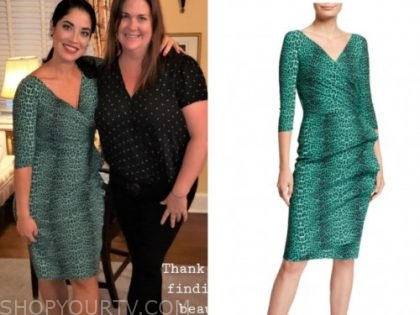 married at first sight, dr. viviana coles, green leopard dress