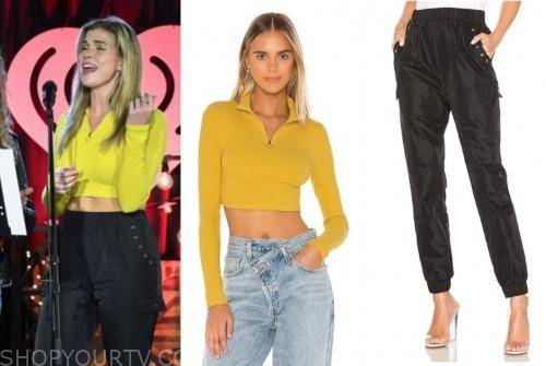 julia, listen to your heart, yellow crop top, black pants