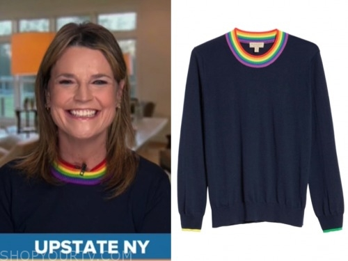 the today show, savannah guthrie, rainbow trim sweater