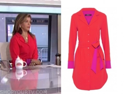 hoda kotb, the today show, red and purple shirt dress