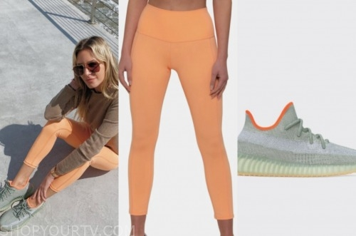 morgan stewart, orange leggings, orange trim sneakers