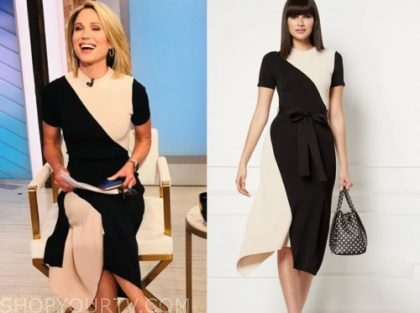 amy robach, good morning america, black and tan knit colorblock dress