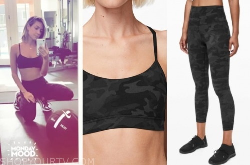 kristin cavallari, camo sports bra and leggings, very cavllari