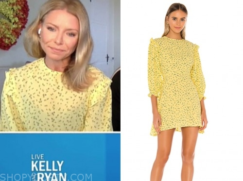 kelly ripa, yellow floral dress, live with kelly and ryan
