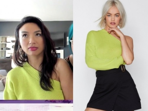 jeannie mai, the real, one-shoulder sweater