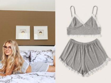 Demi Burnett, the bachelor, grey lace trim pajama short set