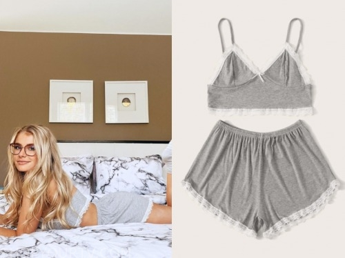 Demi Burnett, the bachelor, grey lace trim pajama short set