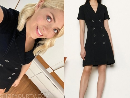 holly willoughby, this morning, black double breasted dress