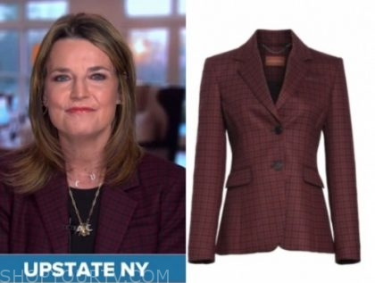savannah guthrie, the today show, burgundy check blazer