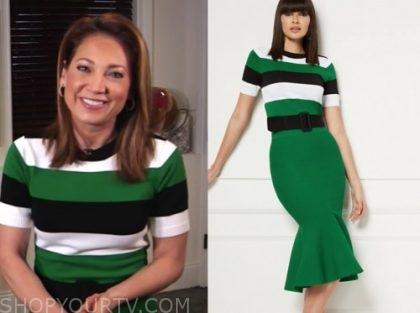 ginger zee, good morning america, green stripe sweater dress