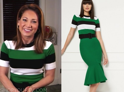 ginger zee, good morning america, green stripe sweater dress