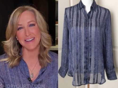 lara spencer, blue printed blouse, good morning america