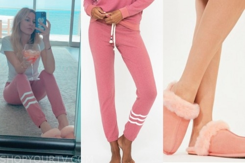 morgan stewart, pink sweatpants, pink slippers