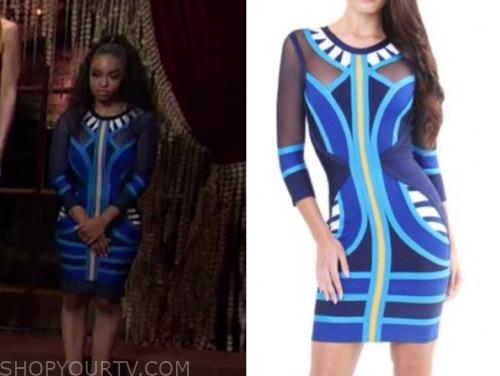 cheyenne, the bachelor:listen to your heart, blue tribal dress