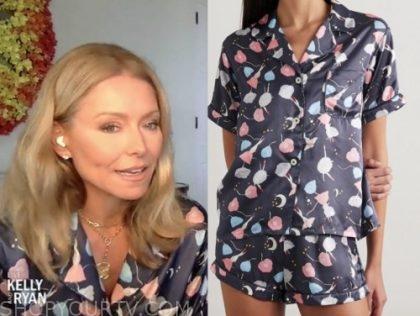 kelly ripa, live with kelly and ryan, navy blue floral pajama set