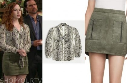 mariah copeland, camryn grimes, snakeskin top, green suede skirt