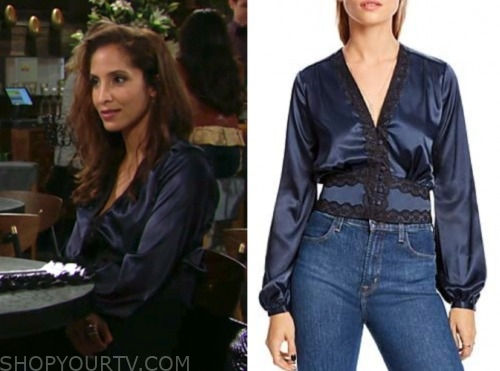 lily winters ashby, christel khalil, the young and the restless, blue lace trim blouse