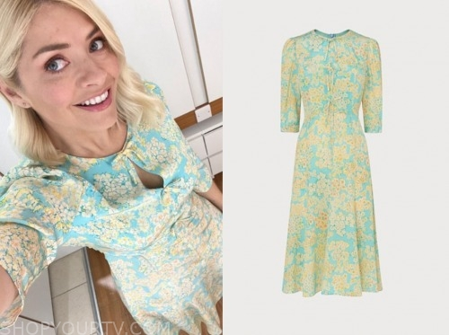 holly willoughby, this morning, blue and yellow floral dress