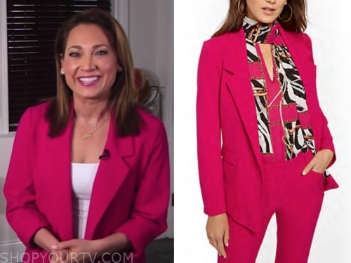 good morning america, ginger zee, hot pink blazer