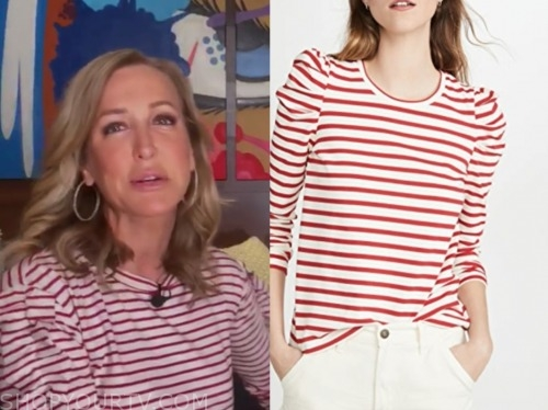 lara spencer, good morning america, red and white striped puff sleeve top