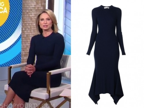 amy robach, navy blue knit dress, good morning america