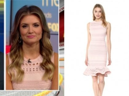 jillian mele, fox and friends, blush pink knit dress