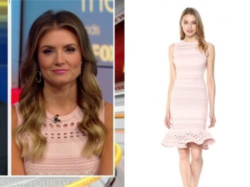 jillian mele, fox and friends, blush pink knit dress