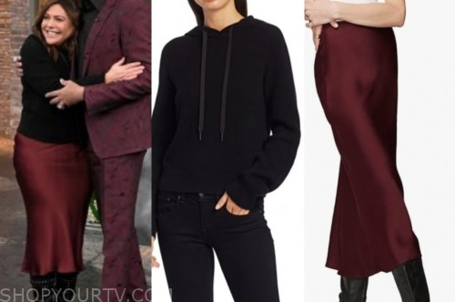 rachael ray, the rachael ray show, black hoodie, burgundy skirt
