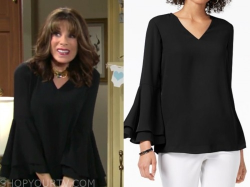 esther valentine, kate linder, the young and the restless, black v-neck top