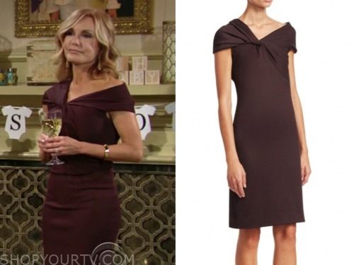 lauren fenmore baldwin, the young and the restless, tracey bregman, brown twist dress