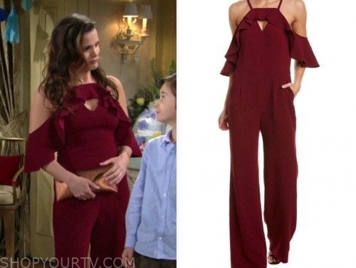 chelsea newman, melissa claire egan, the young and the restless, burgundy jumpsuit