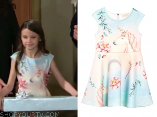 bella fisher, the young and the restless, unicorn dress,