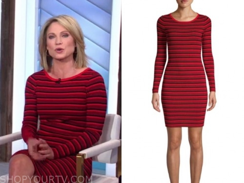 amy robach, good morning america, red stripe knit dress