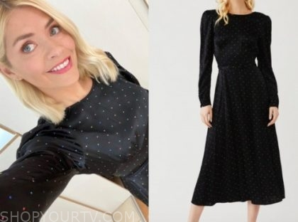 holly willoughby, this morning, black polka dot dress