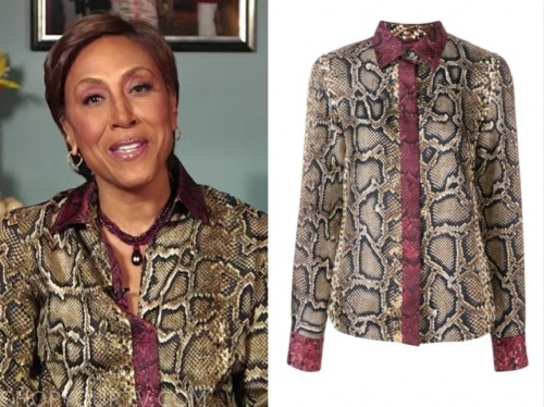 robin roberts, snakeskin contrast trim blouse, good morning america