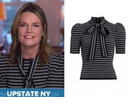 savannah guthrie, the today show, grey and black stripe knit top