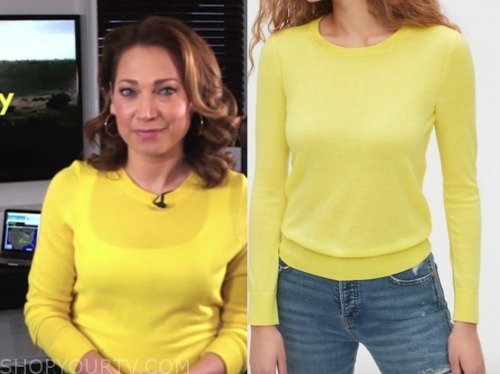 ginger zee, yellow sweater, good morning america