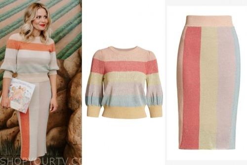candace cameron bure, striped knit dress
