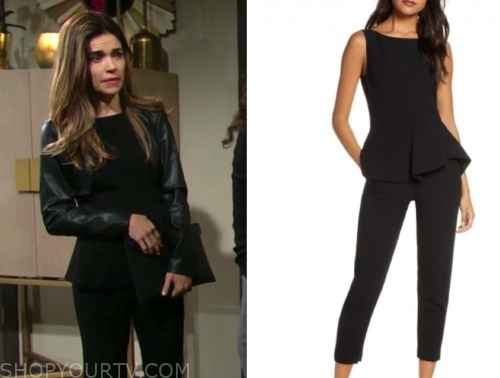 victoria newman, amelia heinel, the young and the restless, black peplum jumpsuit