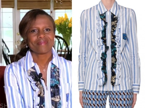 deborah roberts, good morning america, blue and white striped ruffle shirt