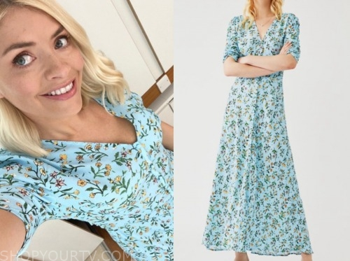 holly willoughby, this morning, blue floral midi dress