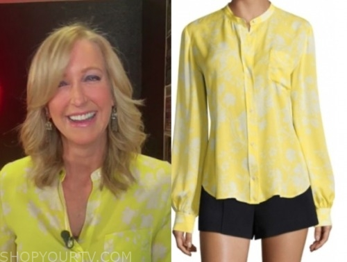lara spencer, yellow printed blouse, good morning america