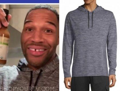 michael strahan, grey hoodie, good morning america