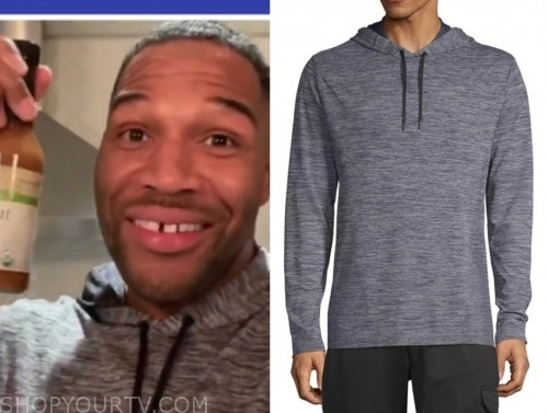 michael strahan, grey hoodie, good morning america